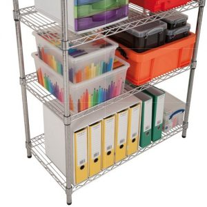 Chrome Wire Shelving - 4 shelves 1600h x 1220w
