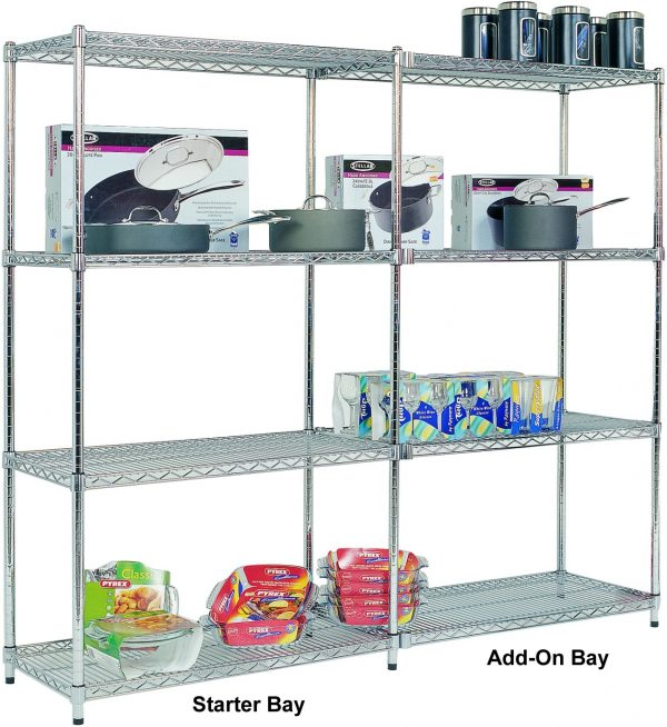 Add On Chrome Wire Shelving - 4 shelves 1600h x 1220w