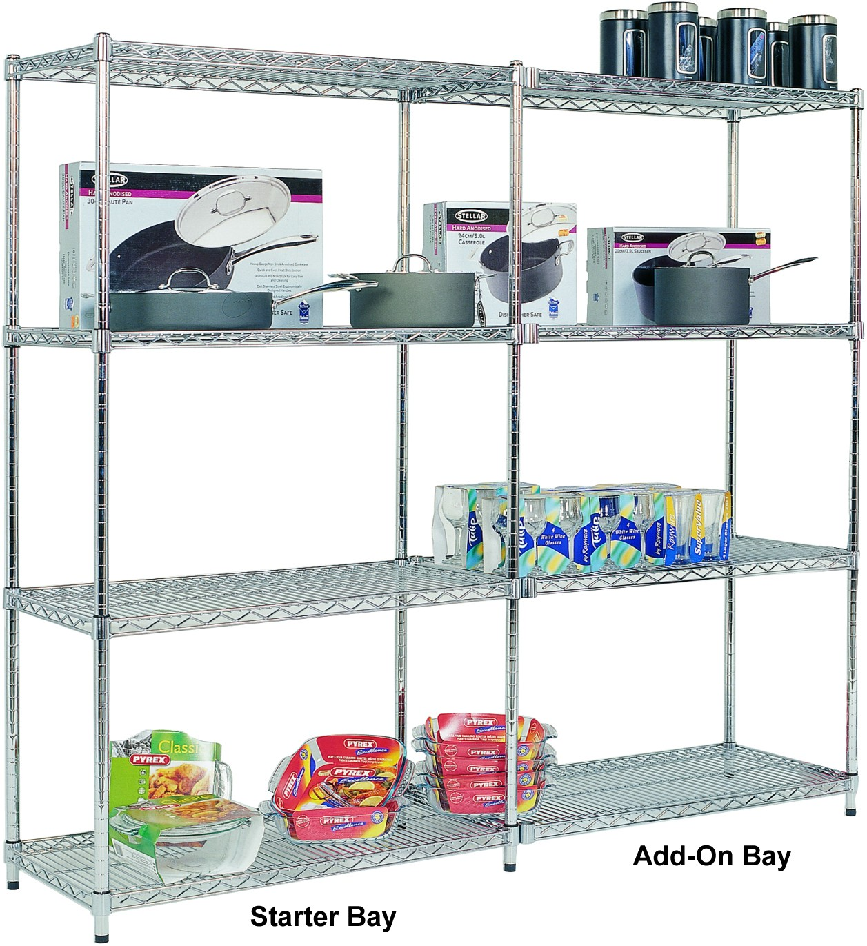 Add On Chrome Wire Shelving – 4 shelves 1600h x 1220w