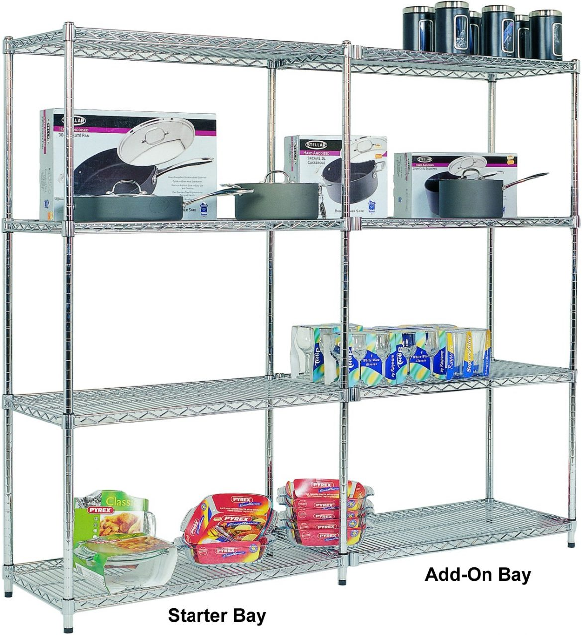 Add On Bay - 4 Chrome Shelves 1880h x 915w x 455d