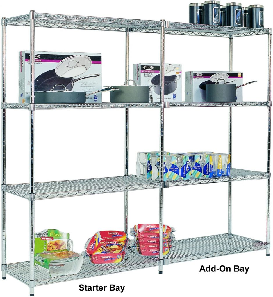 Add On Bay - 4 Chrome Shelves 1880h x 915w x 455d