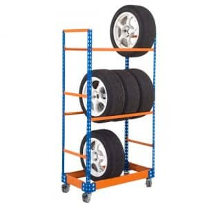 GS340 Shelving - Mobile Tyre Rack 1700h x 915w - 3 levels