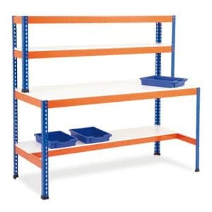 Heavy Duty Work Stations - T - Bar Support With Half Shelf