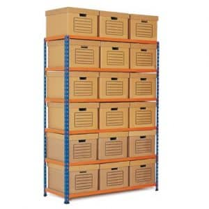 GS340 Shelving Document Storage Bays - Single Sided - 18 boxes