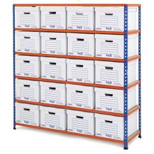 GS340 Shelving Document Storage Bays - Single Sided - 20 boxes