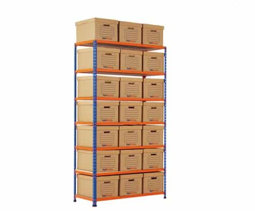 GS340 Shelving Document Storage Bays - Single Sided - 21 boxes