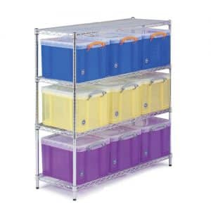 Chrome Wire Shelving - 9 x 35 litre Really Useful Boxes