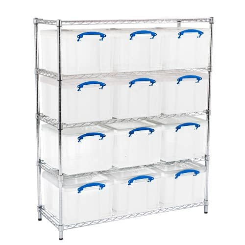 Chrome Wire Shelving - 12 x 35 litre Really Useful Boxes
