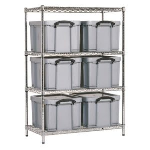Chrome Wire Shelving - 6 x 35 litre Really Useful Boxes