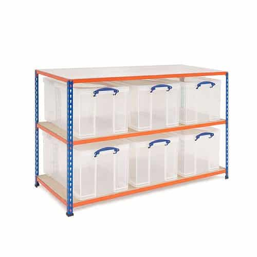 GS340 Shelving - 6 x 35 litre Really Useful Boxes