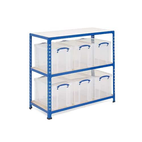 GS340 Shelving - 6 x 84 litre Really Useful Boxes