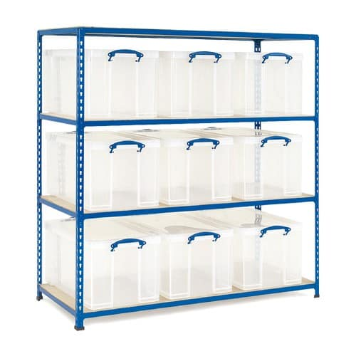 GS340 Shelving - 9 x 84 litre Really Useful Boxes