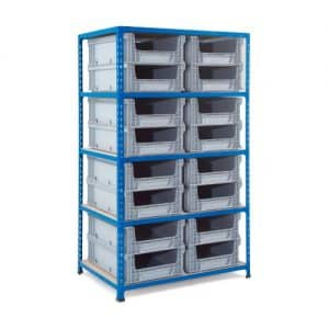 Shelving with 16 Open Fronted Eurocontainers