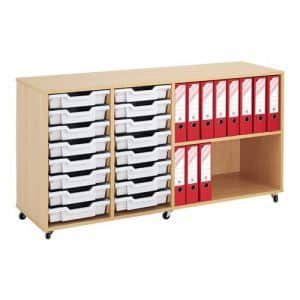 Shallow Tray Wooden Storage Units - 16 Tray With Trays