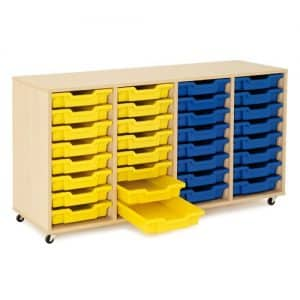 Shallow Tray Wooden Storage Units - 32 Tray With Trays