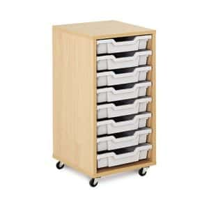 Shallow Tray Wooden Storage Units - 8 Tray With Trays
