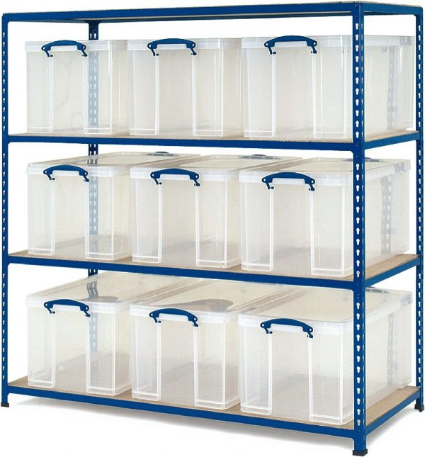 GS340 Shelving - 9 x 35 litre Really Useful Boxes